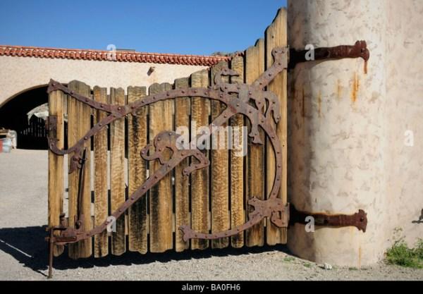 Wood Door Wrought Iron Stock Photos Wood Door Wrought