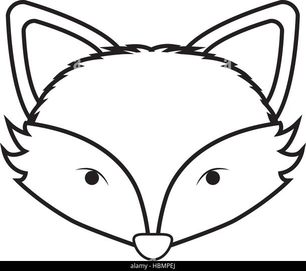 Fox Face Outline Coloring Pages