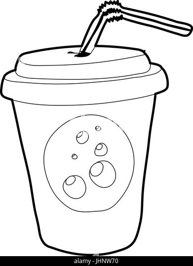 Soda Cup Straw Juice Outline Stock Photos & Soda Cup Straw