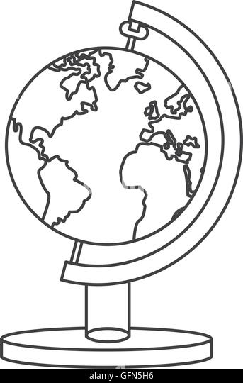 Line Drawing World Map Stock Photos & Line Drawing World