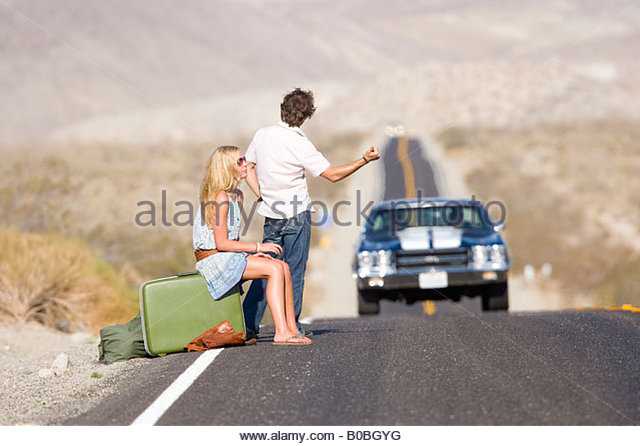 Hitchhiker Hitchhiking On Road Stock Photos Amp Hitchhiker