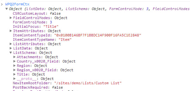 Console output of WPQ2FormCtx Object