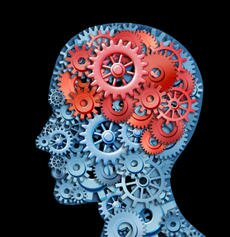 Human brain function represented by red and blue gears in the shape of a head representing the symbol of mental health and neurological functioning in patients with a depression disability.