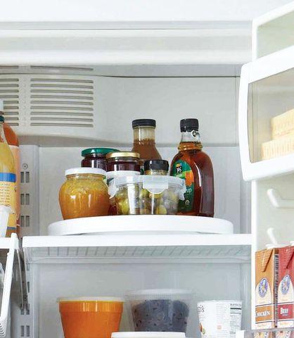 A lazy Susan in the fridge? Sounds like a pretty chill idea.