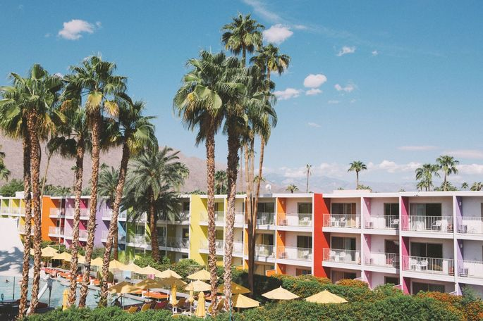 The Saguaro Palm Springs opened in 2012 and is one of three hotels that host pool parties during Splash House, an event held twice in the summer featuring live music.