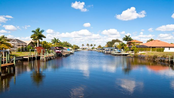 Homes along the canal in Cape Coral