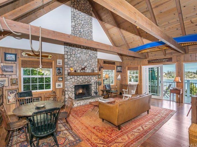 Living room with original rock fireplace