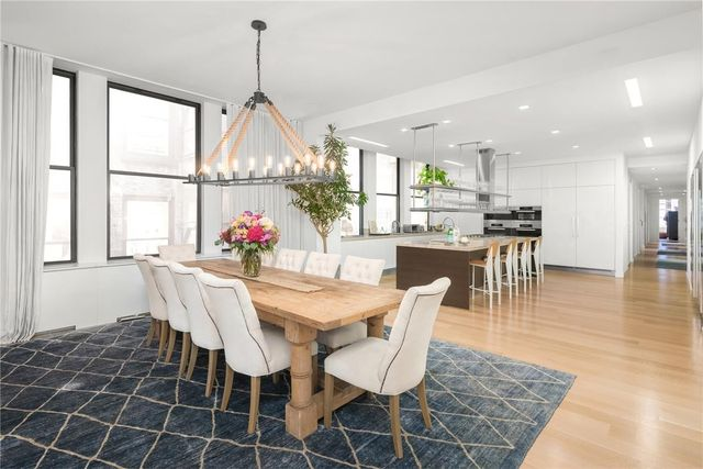 Dining area with open kitchen