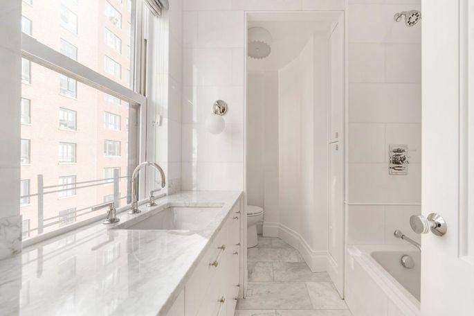 Master bathroom with heated marble floor