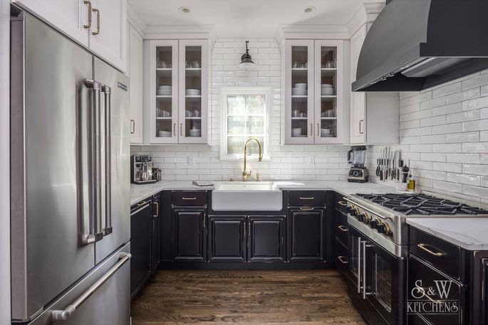 This remodeled kitchen boasts the popular farmhouse trend.