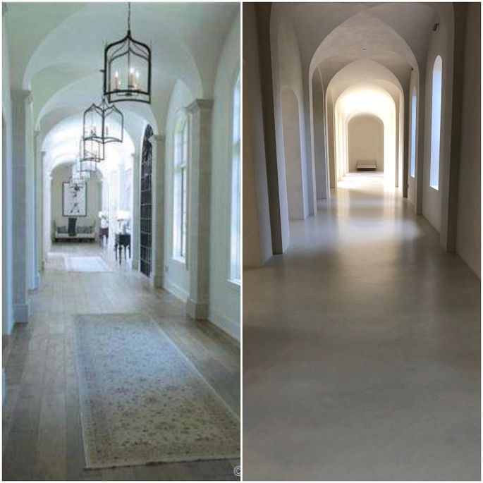 Kanye West tweeted a photo of the hallway in his renovated Los Angeles home (right), which looks strikingly different from the listing photo in 2014 (left).
