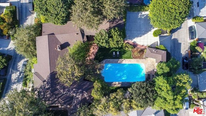 Aerial view of the property that consists of four and a half lots