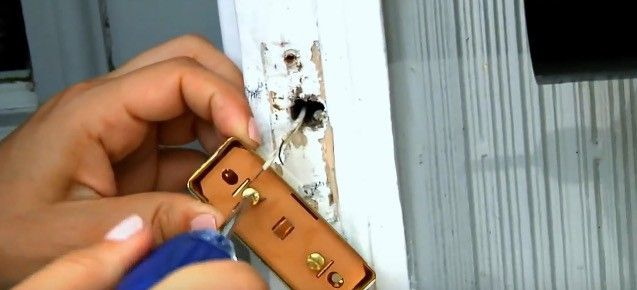 Attach the wires to the new doorbell button.