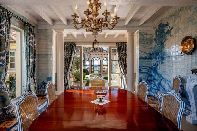 Dining room with hand-painted, tiled mural