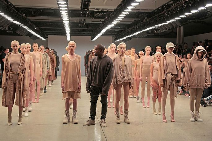 Kanye West at the finale of Yeezy Season 2 during New York Fashion Week at Skylight Modern on Sept. 16, 2015, in New York.
