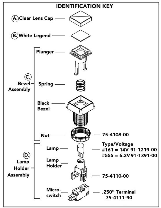 Pushbutton Lampholder Assembly w/ 14V Lamp & .250
