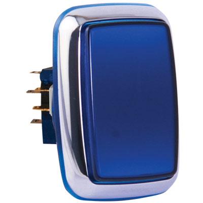 Quot Casino Chrome Quot Large Blue Rectangular Illuminated Pushbutton With Chrome Bezel Rbm 730s C66