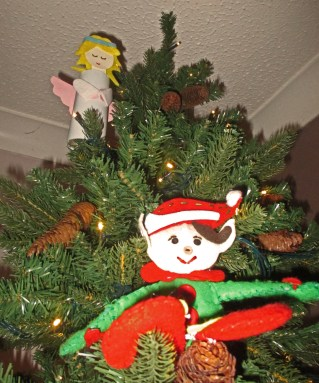 Angel and Elf in tree light