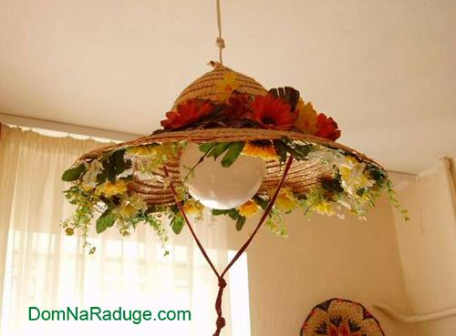 Лампа из соломенной шляпы