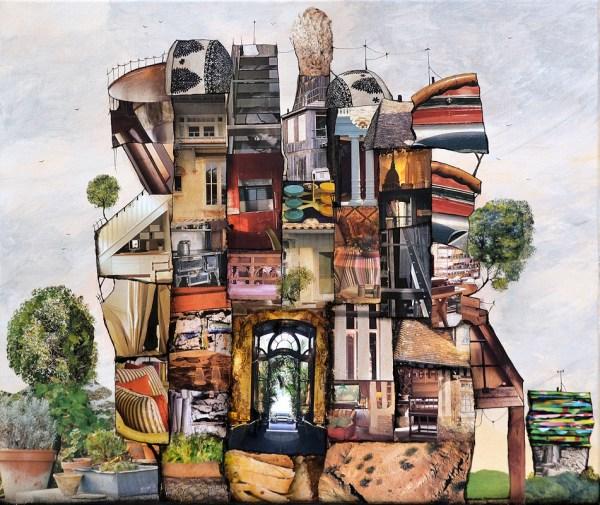 Collage et acrylique sur toile 46x55 cm - rue du pot de terre - nabarus 2015