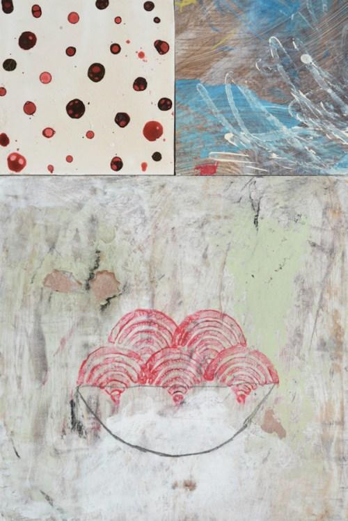 collage pienture sur bois art contemporain nabarus
