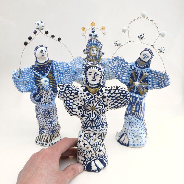 Sculptures ange, anges bleu