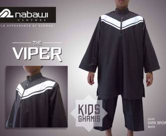 nabawi clothes gamis anak the viper dark brown panjang