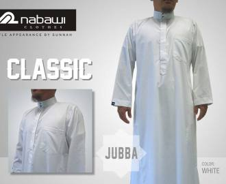 nabawi clothes jubah classic putih polos
