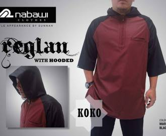 nabawi clothes baju koko reglan hooded maroon