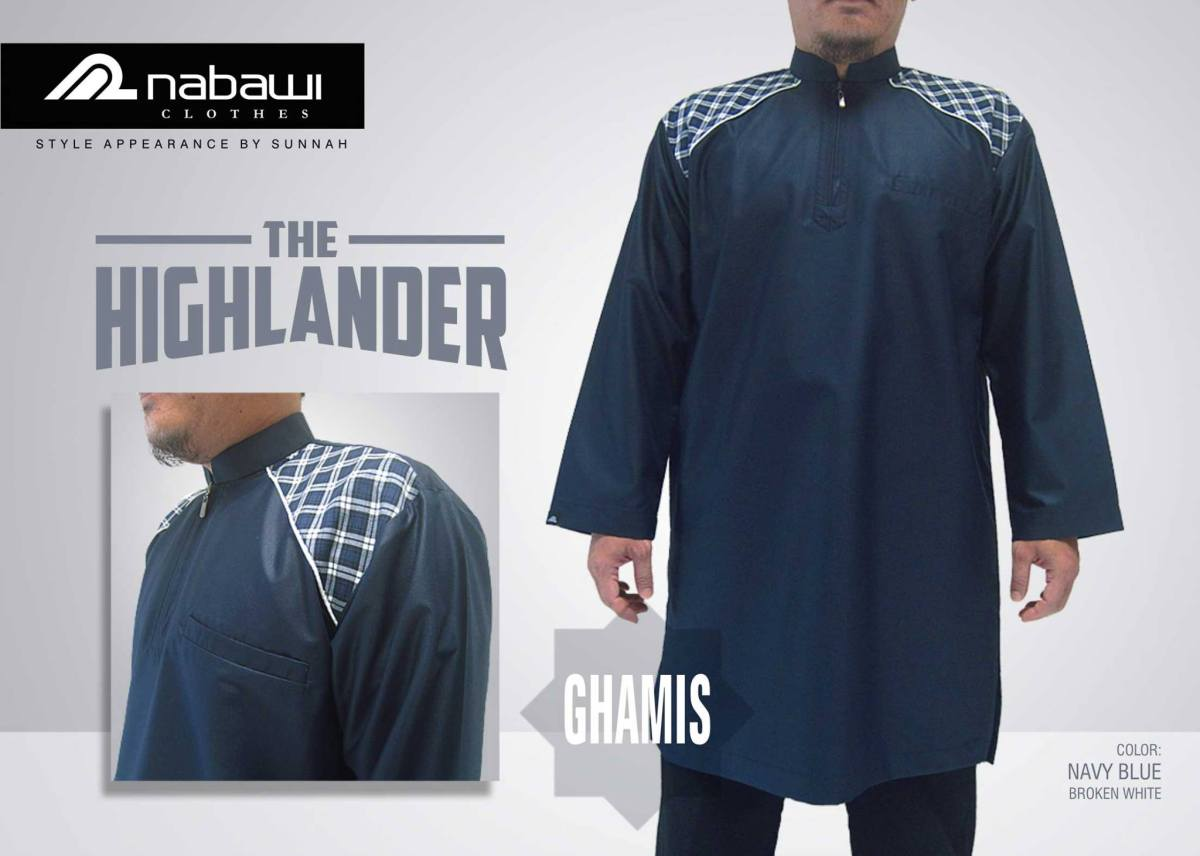 nabawi clothes gamis the highlander long navy blue