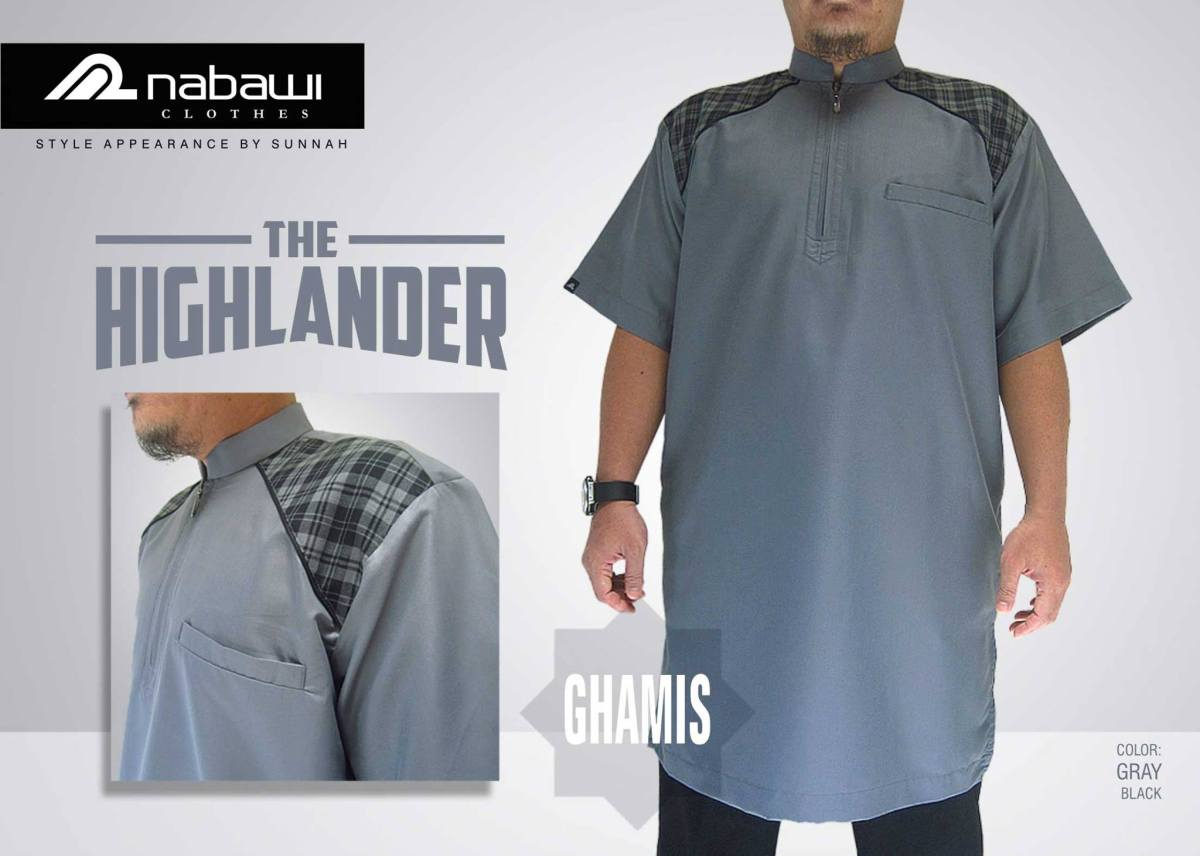 nabawi clothes gamis the highlander short gray