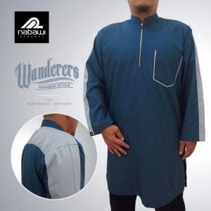 nabawiclothes - baju gamis pakistan wanderers lengan panjang biru