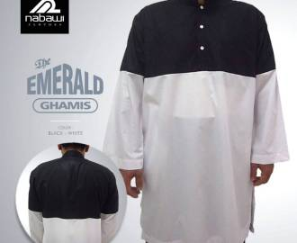 nabawiClothes.com - baju gamis pakistan the emerald putih hitam 3xl