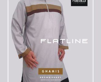 Nabawi Clothes - baju ghamis pakistan flatline coklat lengan panjang murah