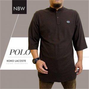 Baju Koko POLO Kaos Muslim Pria Model Gamis Keren coklat