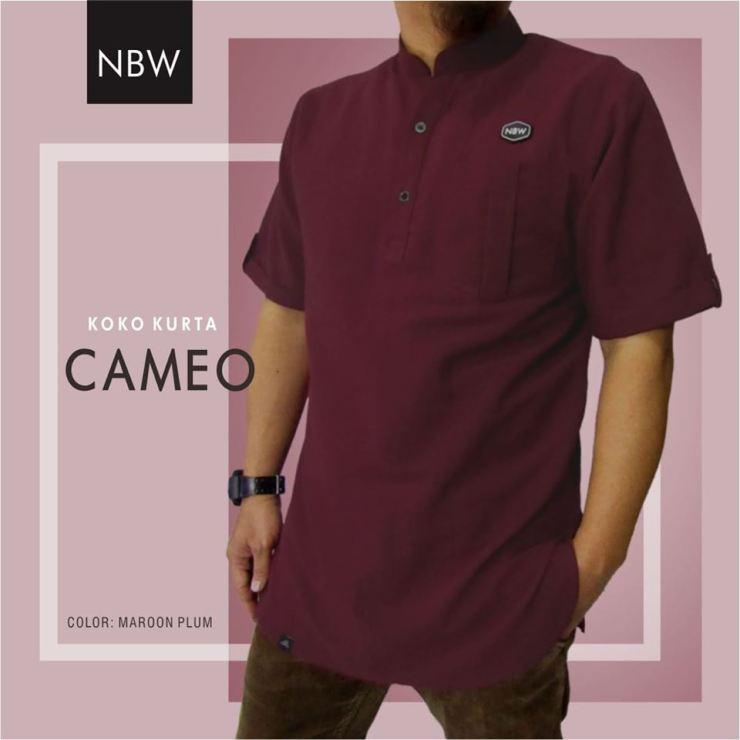 Baju Koko Kurta Muslim Pria CAMEO Series by NBW merah marun