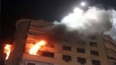 Photo of تفحم شقة بالكامل فحريق بأحد أبراج المعادي