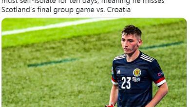 Photo of إصابة بيلي جيلمور نجم اسكتلندا بكورونا وغيابه عن مواجهة كرواتيا