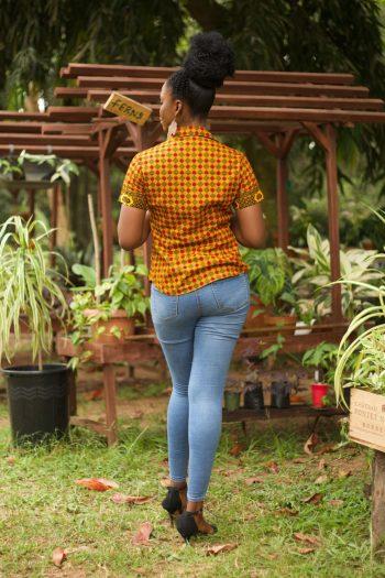 AYANDA African Print Ankara Short Sleeve Shirt in Yellow by Naborhi