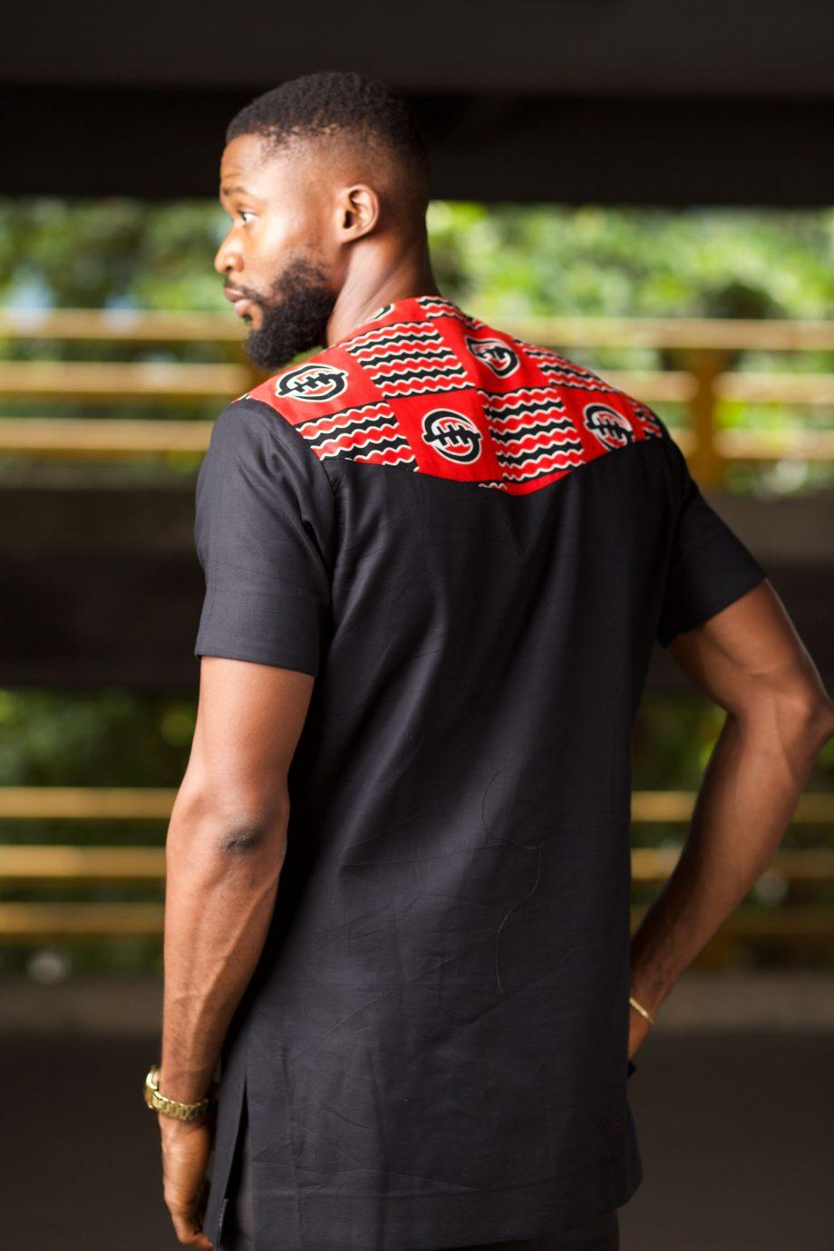 African Mens Shirt - Red_Black Ankara - JELA by NABORHI