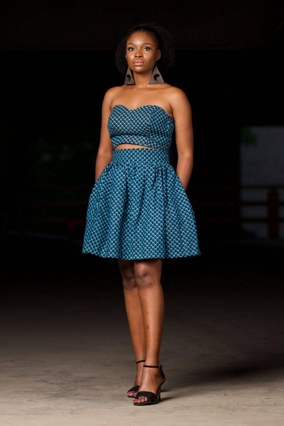 African Print Ankara Bandeau Top and Gathered Mini Skirt - MOSI by Naborhi