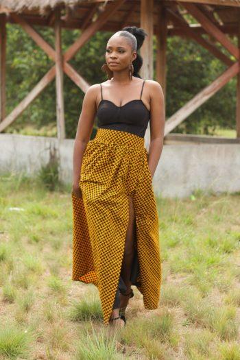 African Print Ankara High Waist Maxi Skirt With Thigh High Side Split in Yellow Ankara Print - TAJU by Naborhi