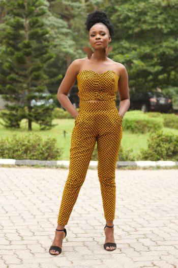 African Print Crop Top and Matching Trousers in Yellow Ankara Print - TAJU by Naborhi