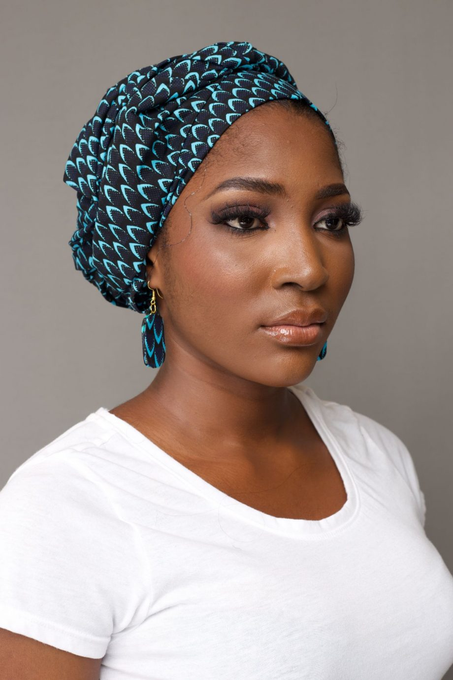 African Print Head Wrap with Matching Earrings - MOSI by Naborhi