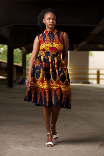 African Print Midi Shirt Dress Gathered at Waist in Blue and Yellow Ankara - KENNA by Naborhi