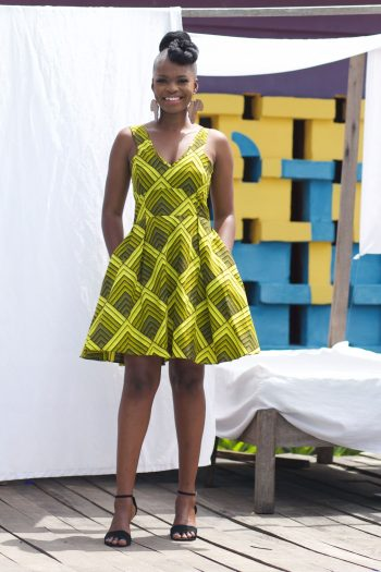 African Print Mini Dress in Green Ankara NURU by Naborhi