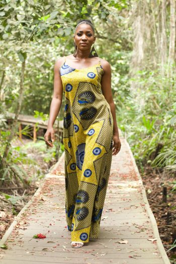 African Print Yellow Maxi Dress with Spaghetti Straps - KETA by Naborhi