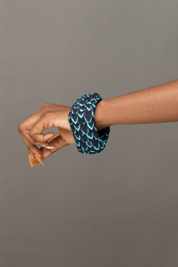 Blue African Print Square Bangle - MOSI by Naborhi