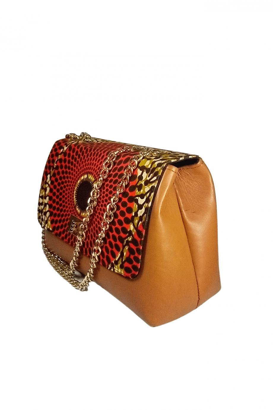 Brown Leather and Ankara Bag JOLASUN by Naborhi