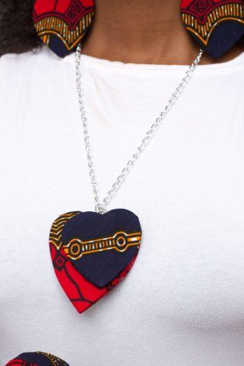 DEMI African Print Ankara Heart Shaped Pendant